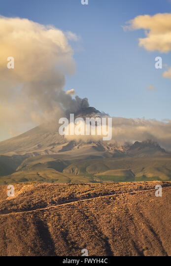 Cotopaxi Volcano Violent Day Explosion, South America - Stock Image
