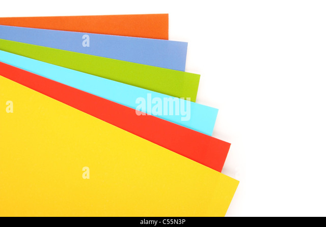 Sheets of a multi-colored paper on a white background - Stock-Bilder