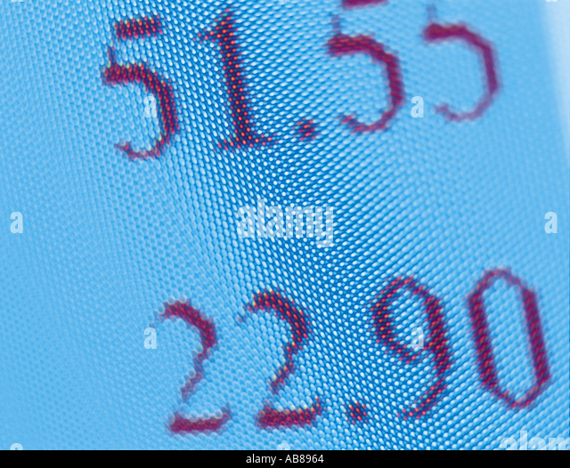 Numerals on a computer monitor - Stock Image