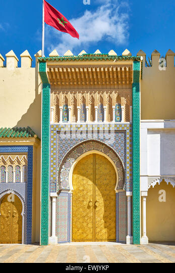 Entrance to Royal Palace in Fez, Morocco, Africa - Stock-Bilder