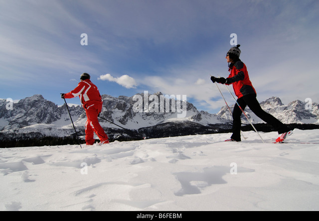 Nordic or cross-country skiers on the Alpe Nemes Alps, High Puster Valley or High Puster Valley or Alto Pusteria, - Stock Image