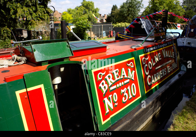 Colourfully painted narrowboat Bream at the 2011 Inland Waterways Festival, at Burton on Trent, England, UK, GB, - Stock Image