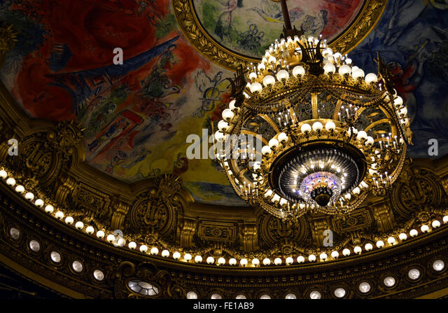 Auditorium ceiling at the Palais Garnier - Stock Image