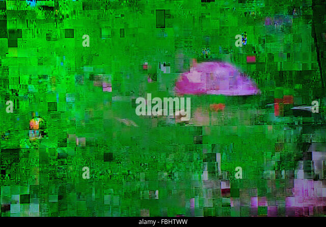 Television broadcast failure, digital cable tv signal fatal error glitch, lcd screen as abstract technology background - Stock Image