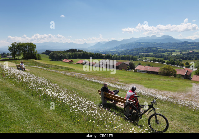 Lookout point, Irschenberg, Oberland, Upper Bavaria, Bavaria, Germany, Europe, PublicGround - Stock Image