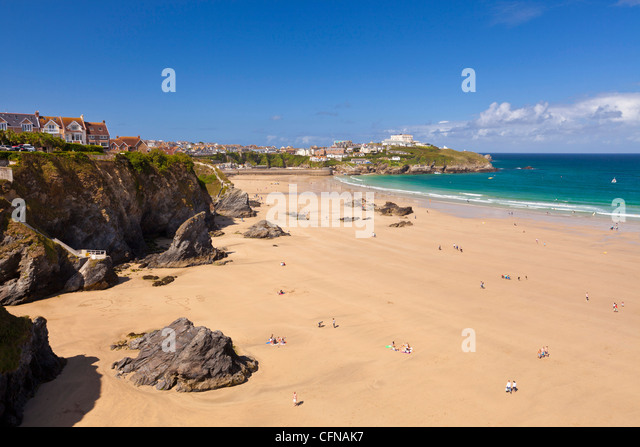Newquay Beach in summer, Cornwall, England, United Kingdom, Europe - Stock Image