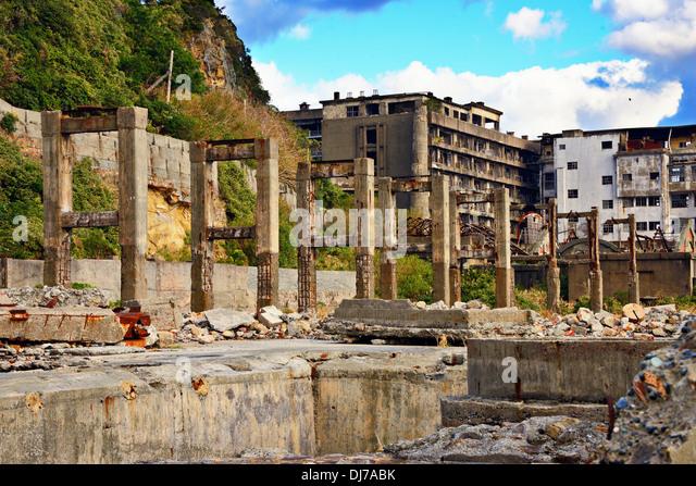 The abandoned industrial island of Gunkanjima, Nagasaki, Japan. - Stock Image