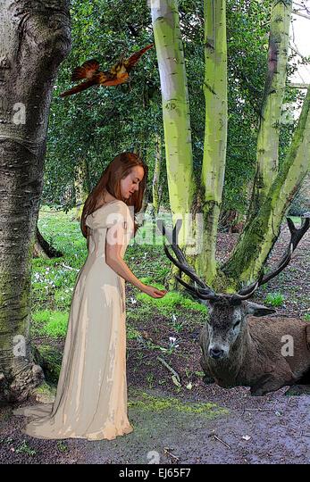 Fairytale, Disney, Snow white, happy ever after, waiting for prince, fantasy portrait, portraiture, fiction, fairytale - Stock Image
