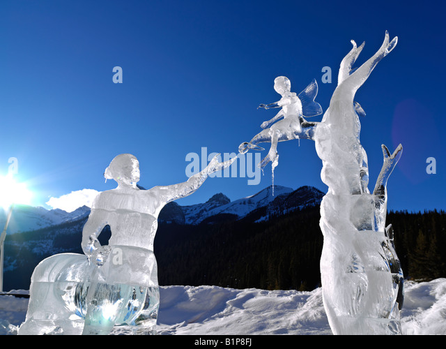 Canada Alberta Banff National Park Lake Louise Fairmont Chateau Lake Louise ice sculpture - Stock Image