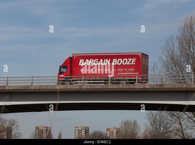 A Bargain Booze truck travelling through the Midlands in the UK. - Stock Image