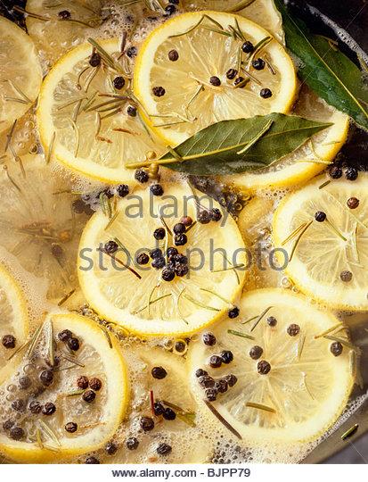 Lemon Pepper Bay Leaf and Rosemary Boil - Stock Image