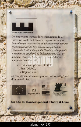 Notice describing sources of money for chateau repairs. - Stock Image