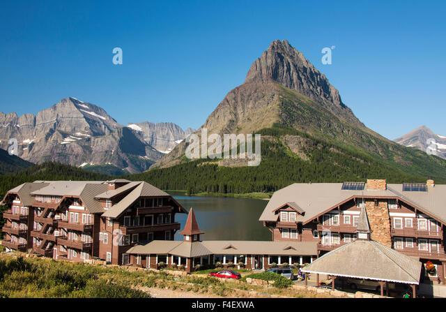 Many Glacier Hotel On Swiftcurrent Stock Photos Many