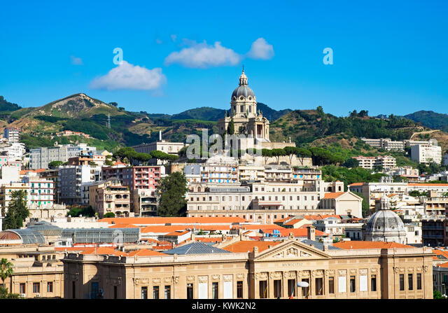 the city of messina on the island of sicily, italy. - Stock Image