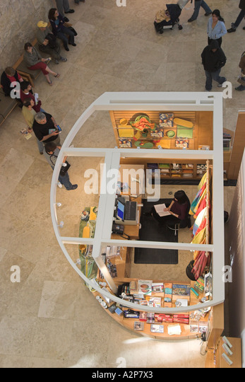An overhead view of a gift store kiosk at the J. Paul Getty Museum in Los Angeles, CA. - Stock Image