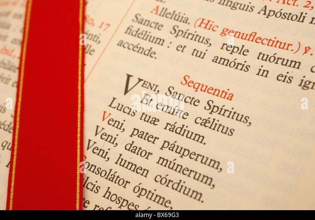 Latin Missal at a traditionalist Catholic pilgrimage, Paris, France, Europe - Stock-Bilder