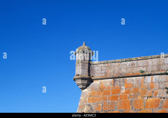 Uruguay South America Fortaleza de Santa Teresa brilliant blue sky orange walls - Stock Image