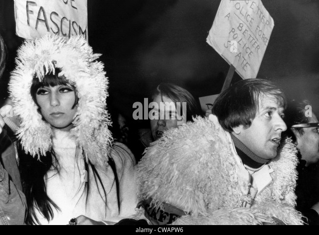 Sonny & Cher at Sunset Strip demonstration against police brutality, Hollywood, 12/10/66. Courtesy: CSU Archives - Stock Image