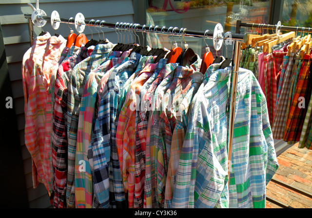 Maine Freeport outlet stores rack shirts sizes for sale - Stock Image