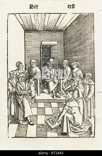 Jewish Oath (From the Laienspiegel, Augsburg), 1509. Artist: Tengler, Ulrich (ca 1441-1521/22) - Stock Image