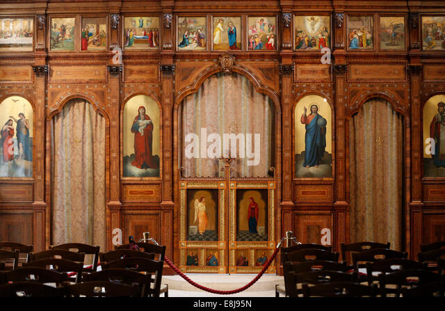 Church of Saint Julian the Poor. A Melkite Greek Catholic parish church.  Iconostasis. - Stock Image