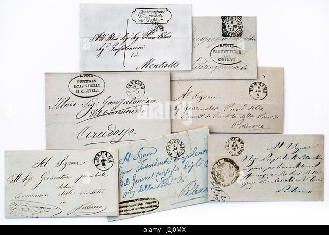 Hand-written early 19th century Italian envelopes. - Stock Image