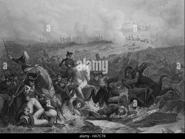 Battle of Austerlitz or Battle of 3 Emperors. 2 Decembre 1805. Napoleonic Wars. Engraving. 19th century. - Stock Image