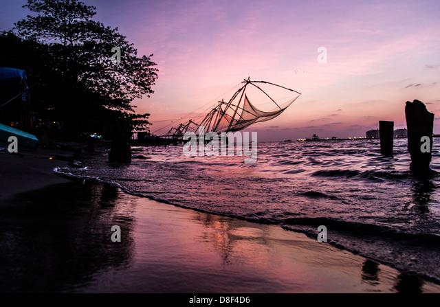 Traditional Chinese fishing nets, Kochi, Kerela, India - Stock Image