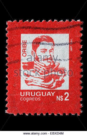 Manuel Oribe, President of Uruguay (1835-1838), postage stamp, Uruguay, Uruguay - Stock Image