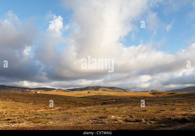 Spain, Canary Islands, Fuerteventura, View of landscape at tuineje - Stock Image