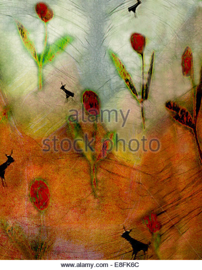 Abstract of red flowers - Stock Image