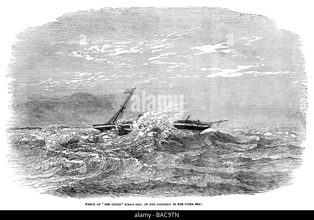 wreck of the douro steam ship on the parcels in the china sea 1854 - Stock Image