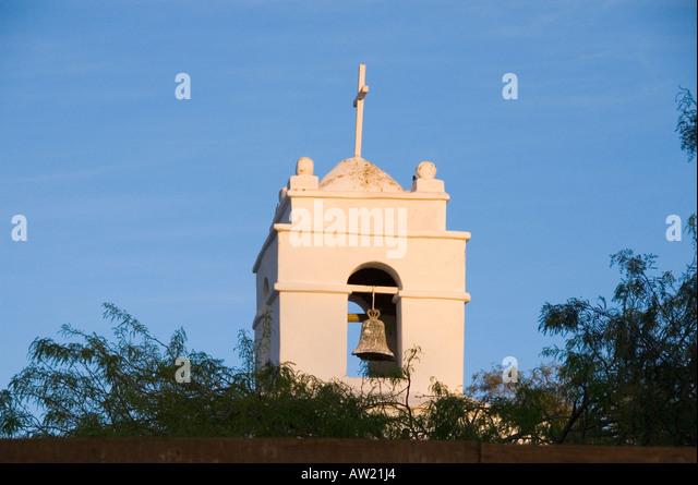 Chile Atacama  Desert San Pedro de Atacama cathedral bell tower - Stock Image