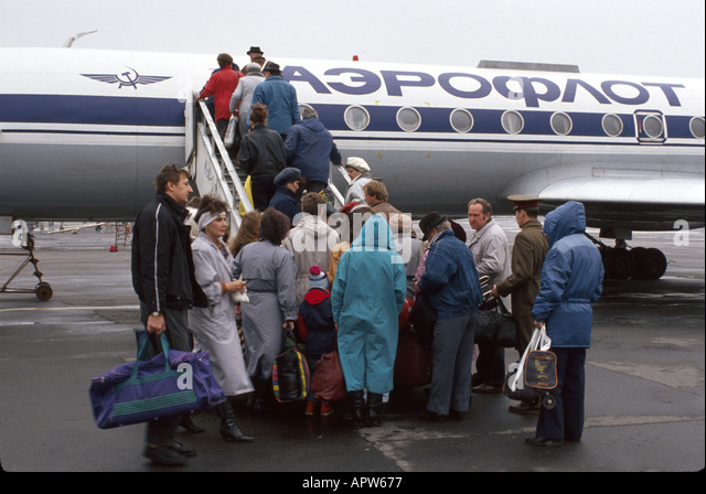 Ukraine Eastern Europe Kiev airport Aeroflot passengers boarding - Stock Image