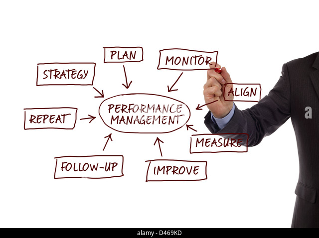 Performance management process diagram - Stock Image