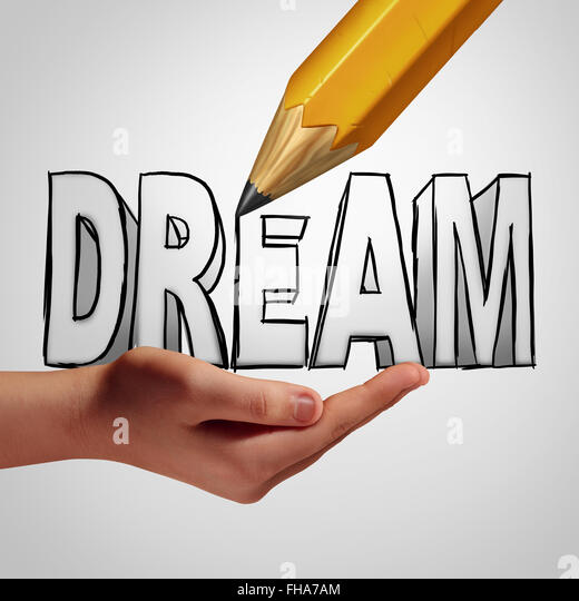 Dream planning idea concept to make it happen by taking control and creating your destiny by focusing on a positive - Stock Image