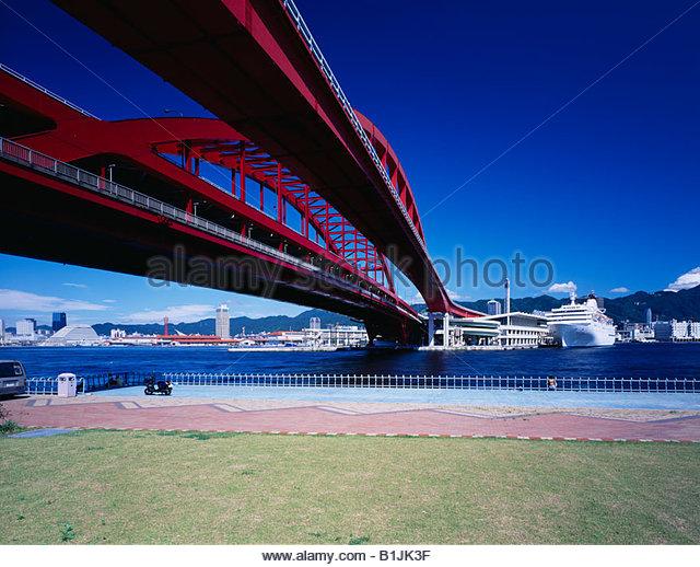 Kobe Ohashi Bridge, Kobe port, Port Island, Kobe, Hyogo, Japan - Stock Image