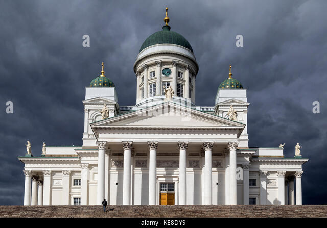 Helsinki Cathedral in Senate Square in Helsinki, Finland. The church was built between 1830-1852 as a tribute to - Stock Image