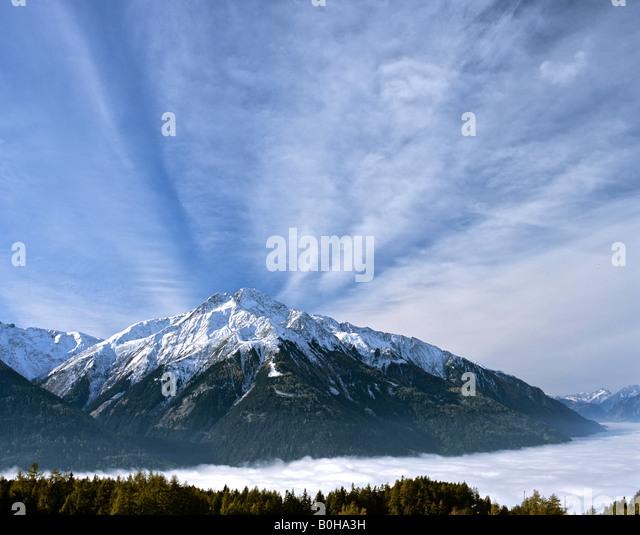 Mt. Hocheder viewed from Moesern, Inn Valley, Tyrol, Austria - Stock-Bilder