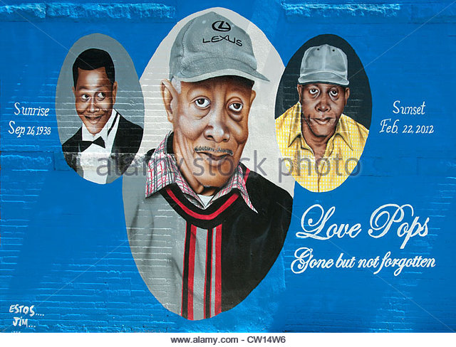 Pop Lloyd  Negro Leagues Baseball Mural Wall Painting Harlem New York  Manhattan United States - Stock Image