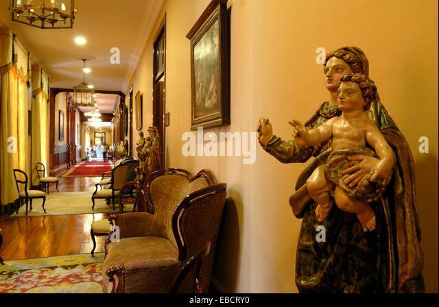 Virgin and Child, polychrome wooden statue, City Hall, La Orotava, Tenerife, Canary Islands, Atlantic Ocean - Stock Image