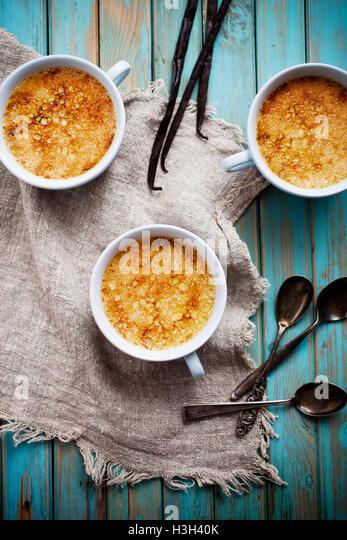 Homemade vanilla creme brule for three - Stock Image