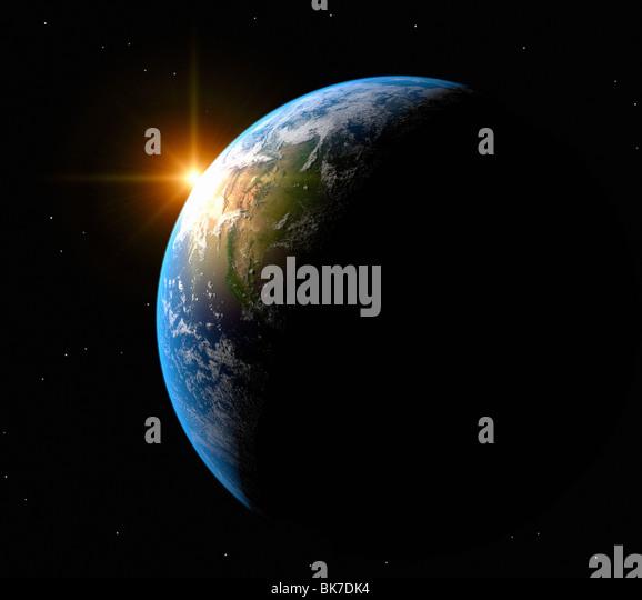 Sunrise over Earth, artwork - Stock Image
