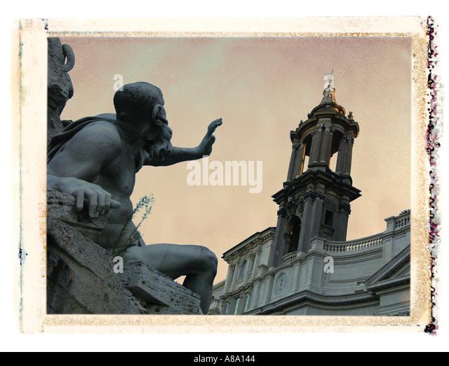 Statue Rome Italy - Stock Image