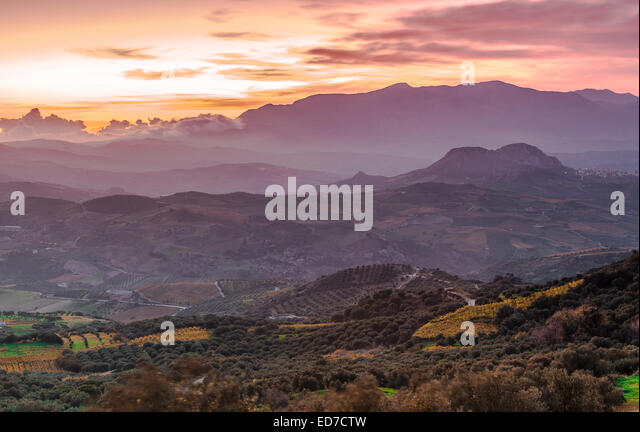 Landscape photo of Cretan villages - Stock Image