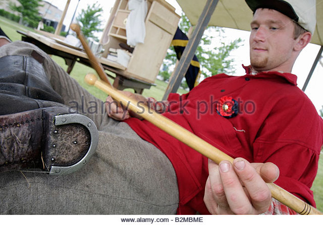 Wisconsin Kenosha Civil War Museum Civil War Days muster Park City Grays living history reenactor militia camp man - Stock Image