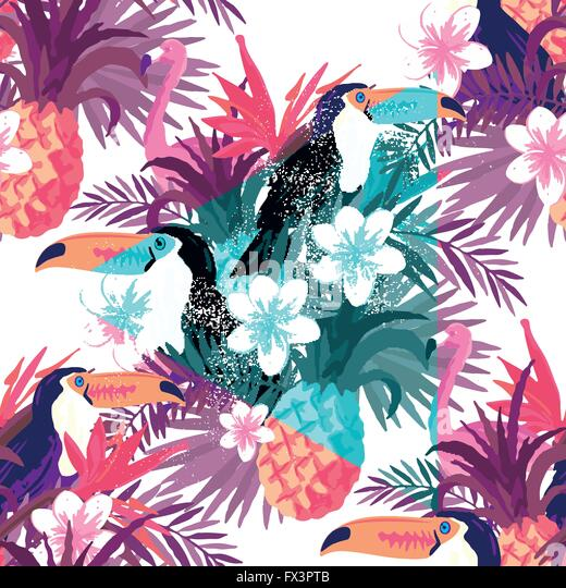 Tropical Abstract Background Vector. Seamless vector background illustration. - Stock Image