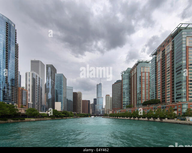 Chicago as viewed from river whilst on the Architectural River Tour.  Illinois, USA. - Stock Image