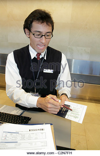 Cancun Mexico Yucatán Peninsula Quintana Roo Cancun International Airport aviation ticket counter check in - Stock Image