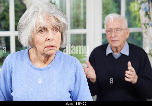 Unhappy Senior Couple At Home Together - Stock Image
